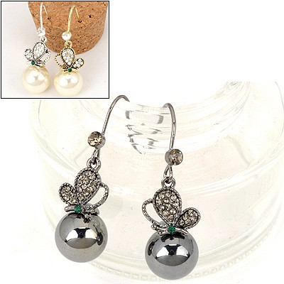 Promise Color Will Be Random Butterfly Pearl Pendent Design Alloy Fashion earrings