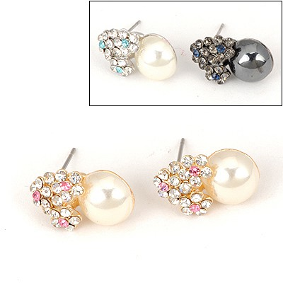 Softshell Color Will Be Random Heart Shape Pear Design Alloy Stud Earrings