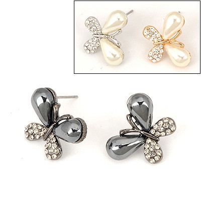 Infinity Color Will Be Random Butterfly Shape Design Alloy Stud Earrings