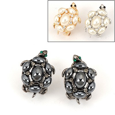 Printed Color Will Be Random Tortoise Shape Design Alloy Stud Earrings