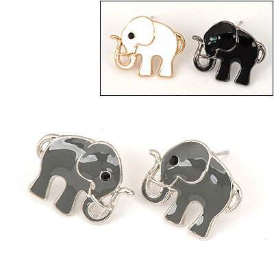 Vibrating Color Will Be Random Elephant Shape Design Alloy Stud Earrings