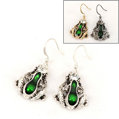 Beaded Color Will Be Random Frog Shape Design Alloy Fashion earrings