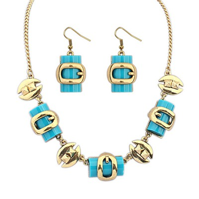 Tummy Blue Metal Box Shape Decorated Design Alloy Jewelry Sets