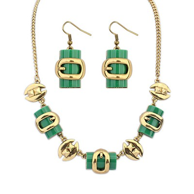Synthetic Green Metal Box Shape Decorated Design Alloy Jewelry Sets
