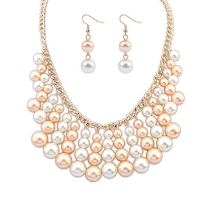 Rent Light Pink&White Multilayer Beads Weave Design Alloy Jewelry Sets