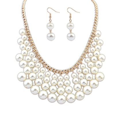 Shopping White Multilayer Beads Weave Design Alloy Jewelry Sets