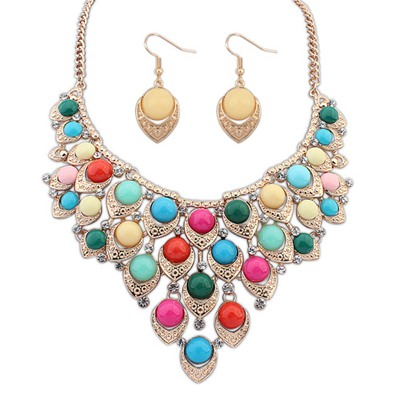 High Quali Multicolor Multilayer Hollow Out Beads Decorated Design Alloy Jewelry Sets