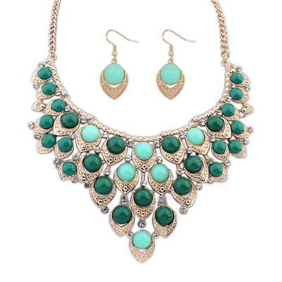 New Green Multilayer Hollow Out Beads Decorated Design Alloy Jewelry Sets