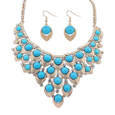 Automatic Light Blue Multilayer Hollow Out Beads Decorated Design Alloy Jewelry Sets