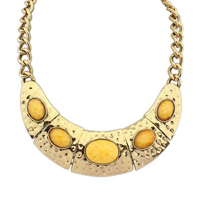 Expired Yellow Half Arc Shape Decorated With Gemstone Alloy Bib Necklaces