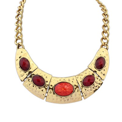Lined Claret-Red Half Arc Shape Decorated With Gemstone Alloy Bib Necklaces