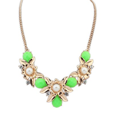 Nautical Glass Green Flower-Shaped Decorated Design Alloy Bib Necklaces