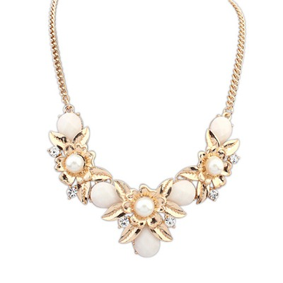 Noble Beige Flower-Shaped Decorated Design Alloy Bib Necklaces