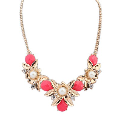 Ultra Red Flower-Shaped Decorated Design Alloy Bib Necklaces