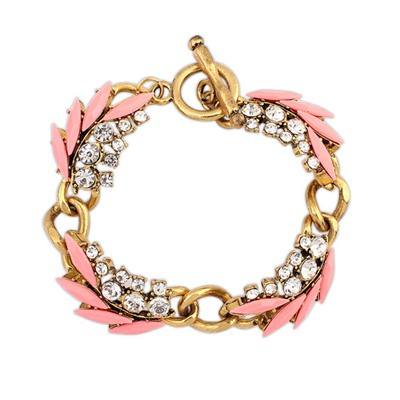 Art Pink Chain Decorated With Diamond Design Alloy Korean Fashion Bracelet
