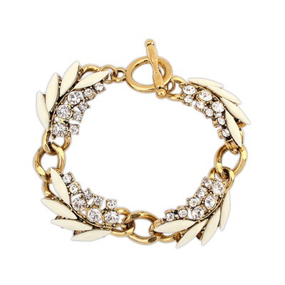Rave Beige Chain Decorated With Diamond Design Alloy Korean Fashion Bracelet