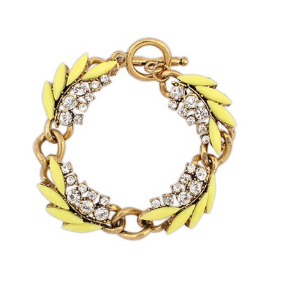 Fantastic Yellow Chain Decorated With Diamond Design Alloy Korean Fashion Bracelet