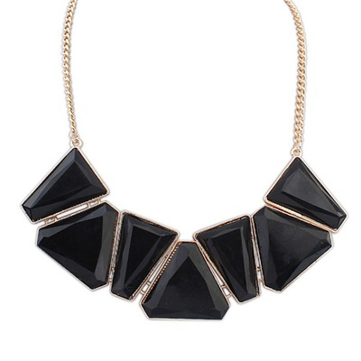 Aamazing Black Geometric Shape Gemstone Decorated Alloy Bib Necklaces
