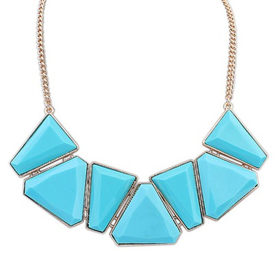 Antique Light Blue Geometric Shape Gemstone Decorated Alloy Bib Necklaces