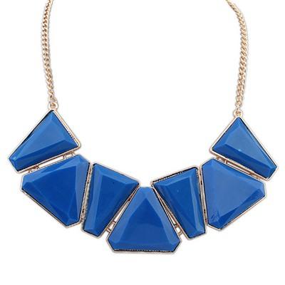 Baggy Dark Blue Geometric Shape Gemstone Decorated Alloy Bib Necklaces