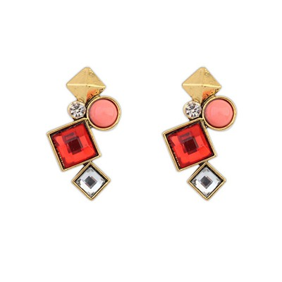 Real Red Irregular Geometric Shape Design Alloy Stud Earrings