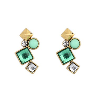 Bridesmaid Green Irregular Geometric Shape Design Alloy Stud Earrings