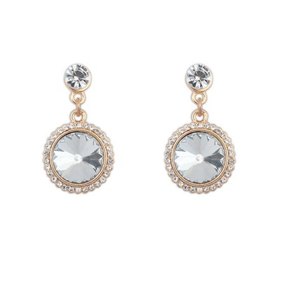 Softshell White With Diamond Round Shape Design Alloy Korean Earrings