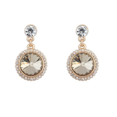 High Waist Gold Color With Diamond Round Shape Design Alloy Korean Earrings