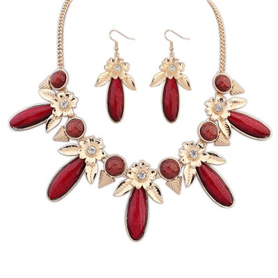Cocktail Claret-Red Rectangle Flower Gemstone Decorated Alloy Jewelry Sets