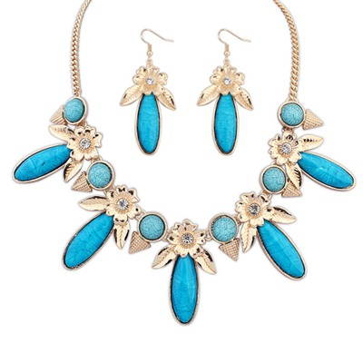 University Blue Rectangle Flower Gemstone Decorated Alloy Jewelry Sets