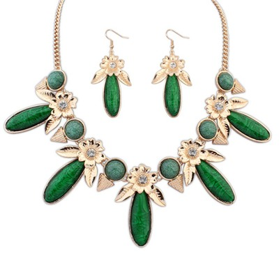 Guardian Green Rectangle Flower Gemstone Decorated Alloy Jewelry Sets