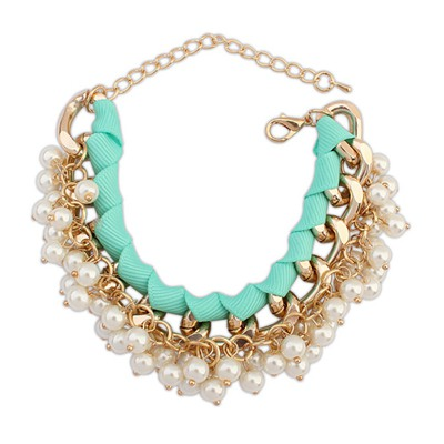 Expensive Light Blue Pearl Chain Weave Design Alloy Korean Fashion Bracelet