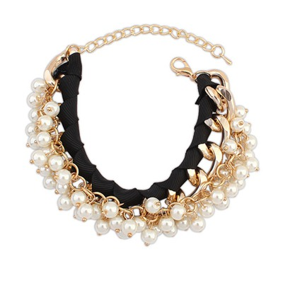 Outlook Black Pearl Chain Weave Design Alloy Korean Fashion Bracelet