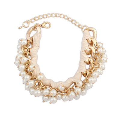 Bridal Beige Pearl Chain Weave Design Alloy Korean Fashion Bracelet