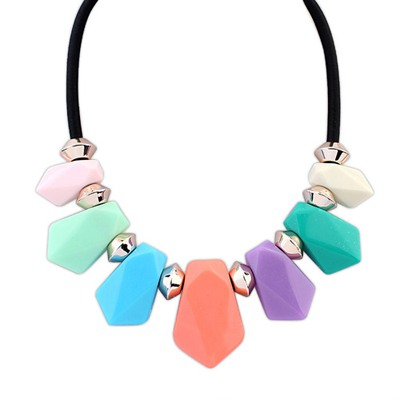 Wonderful Multicolor Geometric Shape Pendant Design Alloy Bib Necklaces