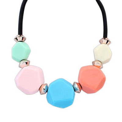 Pierced Multicolor Five Beads Geometric Design Alloy