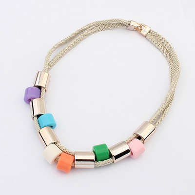 Etcetera Multicolor Double Layer Simple Design Alloy Bib Necklaces