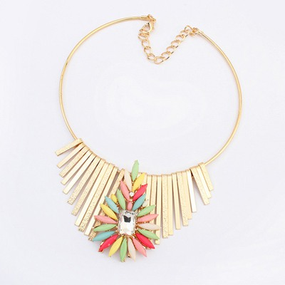 Eco Multicolor Metal Tassel Flower Decorated Design Alloy Bib Necklaces