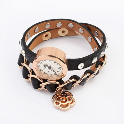 Christenin Black Diamond Decorated Multilayer Design Alloy Ladies Watches