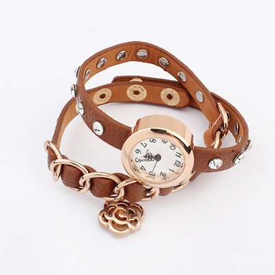 Smart Coffee Diamond Decorated Multilayer Design Alloy Ladies Watches