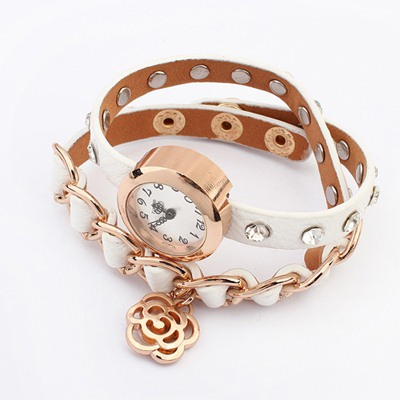 Pierced White Diamond Decorated Multilayer Design Alloy Ladies Watches