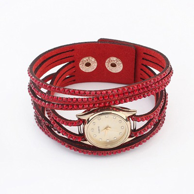 Parker Red Full Of Diamond Multilayer Design Alloy Fashion Watches