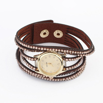 Softshell Dark Coffee Full Of Diamond Multilayer Design Alloy Ladies Watches