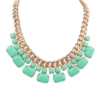 Golf Light Green Gemstone Decorated Simple Design Alloy Bib Necklaces