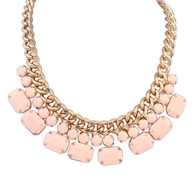 Fabulous Pink Gemstone Decorated Simple Design Alloy Bib Necklaces