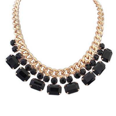 Maturnity Black Gemstone Decorated Simple Design Alloy Bib Necklaces