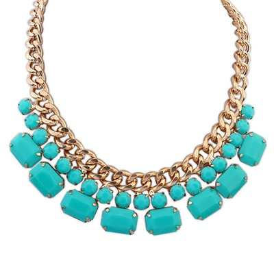 Executive Light Blue Gemstone Decorated Simple Design Alloy Bib Necklaces
