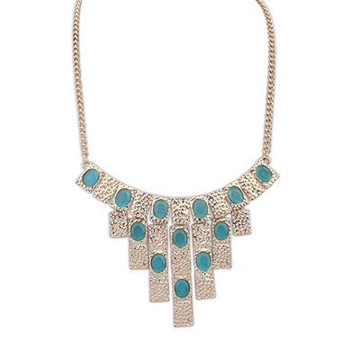 Catholic Light Blue Vintage Geometric Shape Pendant Design Alloy Bib Necklaces