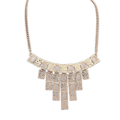 Wonderful Beige Vintage Geometric Shape Pendant Design Alloy Bib Necklaces