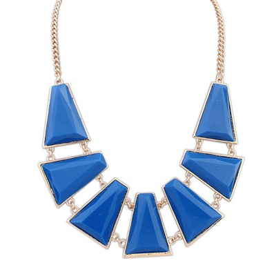 Screw Dark Blue Seven Geometric Shape Gemstone Decorated Alloy
